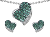 Star K™ Simulated Emerald Heart Shape Love Pendant With Matching Earrings style: 306339