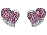 Star K™ Heart Shape Love Earrings With Created Pink Sapphire style: 306340
