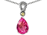 Star K™ Pear Shape 11x8mm Created Pink Sapphire Pendant Necklace style: 306341