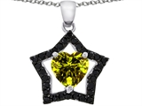 Star K™ Heart Shape 8mm Simulated Peridot Black Star Pendant Necklace style: 306347