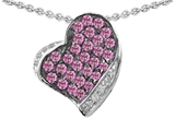 Star K™ Heart Shape Love Pendant Necklace With Created Pink Sapphire style: 306354