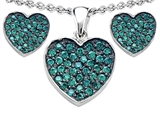 Star K™ Simulated Emerald Heart Shape Love Pendant with matching earrings style: 306357