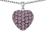 Star K™ Puffed Heart Love Pendant Necklace with Created Pink Sapphire style: 306361