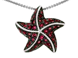Star K™ Starfish Pendant Necklace With Round Created Ruby style: 306362