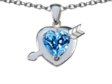 Star K™ Heart With Arrow Love Pendant Necklace With Simulated Blue Topaz style: 306363