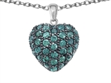 Star K™ Puffed Heart Love Pendant Necklace with Simulated Emerald style: 306366