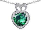 Star K™ Heart Shape Simulated Emerald Pendant Necklace style: 306379