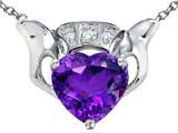 Star K™ 8mm Heart Claddagh Pendant Necklace With Simulated Amethyst style: 306380