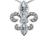 Star K™ Genuine White Topaz Fleur De Lis Pendant Necklace style: 306385