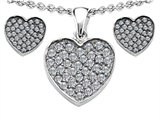 Star K™ Cubic Zirconia Heart Shape Love Pendant with matching earrings style: 306388