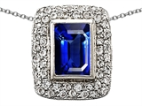 Star K™ Emerald Cut Created Sapphire Pendant Necklace style: 306390