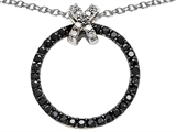 Star K™ Round Black and White Cubic Zirconia X and O Pendant Necklace style: 306394