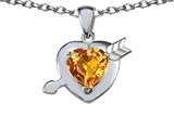 Star K™ Heart with Arrow Love Pendant Necklace with Genuine Citrine style: 306399