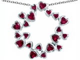 Star K™ Large Circle of Love Pendant Necklace with 20 Created Ruby Hearts style: 306401