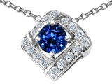 Star K™ Round Created Sapphire Pendant Necklace style: 306402