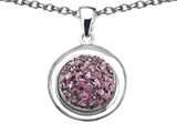 Star K™ Round Puffed Pendant Necklace with Created Pink Sapphire style: 306404