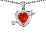 Star K™ Heart with Arrow Love Pendant Necklace with Simulated Orange Mexican Fire Opal style: 306408