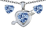 Star K™ Simulated Aquamarine Heart with Arrow Pendant Necklace with matching earrings style: 306411