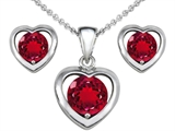 Star K™ Created Ruby Heart Earrings with matching Pendant style: 306413