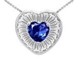 Star K™ Heart Shape Created Sapphire Heart Pendant Necklace style: 306418