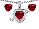 Star K™ Created Ruby Heart with Arrow Pendant Necklace with matching earrings style: 306435
