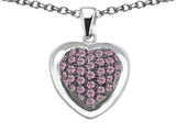 Star K™ Heart Shape Love Pendant Necklace with Created Pink Sapphire style: 306441