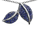 Star K™ Nature Lover Leaf Pendant Necklace with Created Sapphire style: 306442