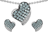 Star K™ Simulated Aquamarine Heart Shape Love Pendant With Matching Earrings style: 306443