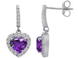Star K™ 6mm Heart Shape Simulated Amethyst Hanging Halo Heart Earrings style: 306449