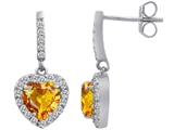 Star K™ 6mm Heart Shape Simulated Citrine Hanging Halo Heart Earrings style: 306451