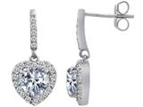 Star K™ 6mm Heart Shape Genuine White Topaz Hanging Halo Heart Earrings style: 306453