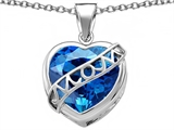 Star K™ Large Love Mom Mother Pendant Necklace with 15mm Heart Shape Simulated Blue Topaz style: 306464