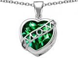 Star K™ Large Love Mom Mother Pendant Necklace with 15mm Heart Shape Simulated Emerald style: 306467