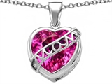 Star K™ Large Love Mom Mother Pendant Necklace with 15mm Heart Shape Created Pink Sapphire style: 306472