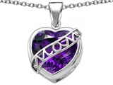 Star K™ Large Love Mom Mother Pendant Necklace with 15mm Heart Shape Simulated Amethyst style: 306476