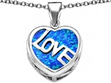Star K™ Large Love Heart Pendant Necklace with 15mm Heart Shape Blue Created Opal style: 306479