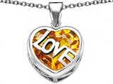 Star K™ Large Love Heart Pendant Necklace with 15mm Heart Shape Simulated Citrine style: 306480