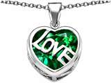 Star K™ Large Love Heart Pendant Necklace with 15mm Heart Shape Simulated Emerald style: 306481