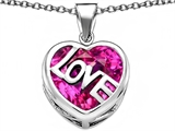 Star K™ Large Love Heart Pendant Necklace with 15mm Heart Shape Created Pink Sapphire style: 306486