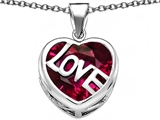 Star K™ Large Love Heart Pendant Necklace with 15mm Heart Shape Created Ruby style: 306487