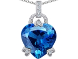 Original Star K™ Large Lock Love Heart Pendant with 13mm Heart Shape Simulated Blue Topaz style: 306508