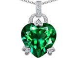 Star K™ Large Lock Love Heart Pendant Necklace with 13mm Heart Shape Simulated Emerald style: 306511