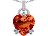 Star K™ Large Lock Love Heart Pendant Necklace with 13mm Heart Shape Simulated Mexican Orange Fire Opal style: 306512