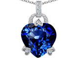 Star K™ Large Lock Love Heart Pendant Necklace with 13mm Heart Shape Simulated Sapphire style: 306519