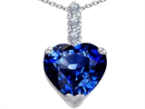 Star K™ Large 12mm Heart Shape Simulated Sapphire Pendant Necklace style: 306523