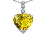 Star K™ Large 12mm Heart Shape Simulated Peridot and Cubic Zirconia Pendant Necklace style: 306525