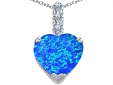 Star K™ Large 12mm Heart Shape Blue Created Opal Pendant Necklace style: 306529