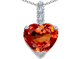 Star K™ Large 12mm Heart Shape Simulated Mexican Orange Fire Opal Pendant Necklace style: 306532