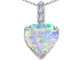 Original Star K™ Large 12mm Heart Shape Created Opal and Cubic Zirconia Pendant style: 306535