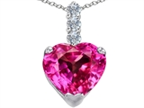Star K™ Large 12mm Heart Shape Created Pink Sapphire Pendant Necklace style: 306536